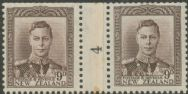 NZ Counter Coil Pair SG 685 1947 9d King George VI Join No. 4 (NCC/163)